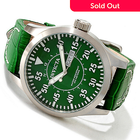 617-039 - Invicta Men's Specialty Outdoor Military Quartz Stainless Steel Leather Strap Watch