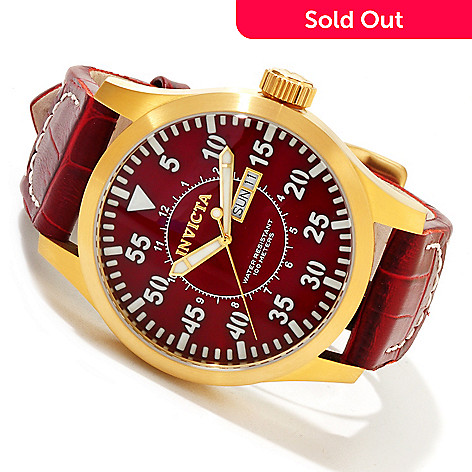 617-040 - Invicta Men's Specialty Outdoor Quartz Stainless Steel Case Leather Strap Watch