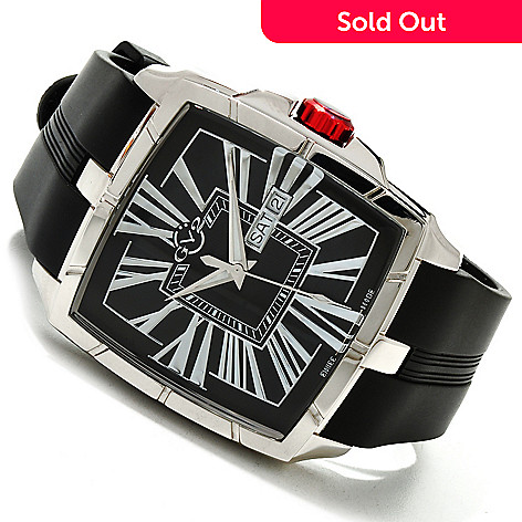 617-042 - GV2 by Gevril Rectangular Fiamme Limited Edition Swiss Made Quartz Rubber Strap Watch