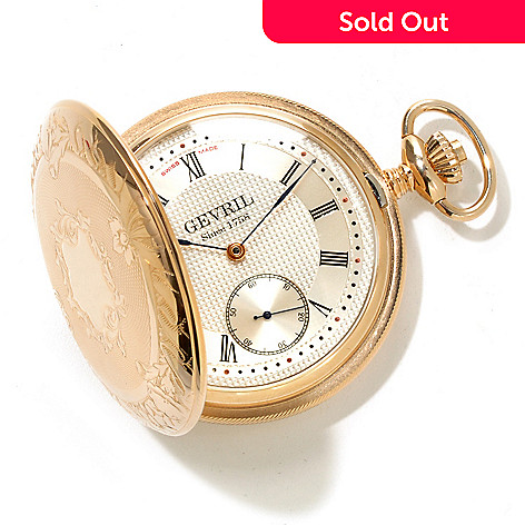 617-051 - Gevril Men's 1762 Collection Swiss Made Mechanical Gold-tone Pocket Watch