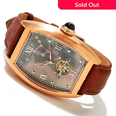 617-072 - Constantin Weisz Men's Hercules Constellation Automatic Open Heart Leather Strap Watch
