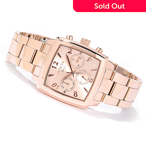 617-105 - Invicta Women's Angel Quartz GMT Square Sunray Dial Stainless Steel Bracelet Watch