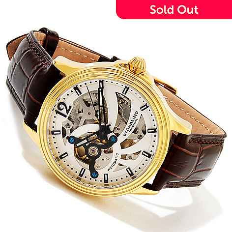 617-128 - Stührling Original Men's Automatic Open Heart Stainless Steel Leather Strap Watch