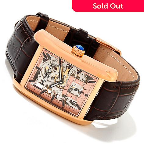 617-132 - Stührling Original Men's Gatsby Plaza Mechanical Skeletonized Leather Strap Watch