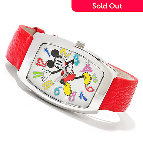617-138 - Disney Women's Mickey Quartz Leather Strap Watch