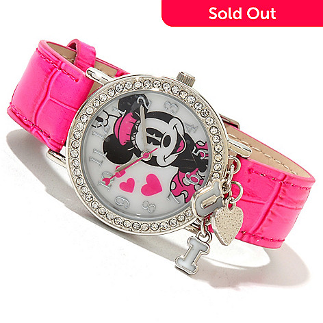 617-140 - Disney Women's Quartz Leather Strap Watch w/ ''I Heart U'' Charms