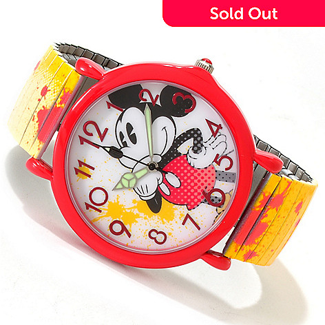617-143 - Disney Women's Mickey or Minnie Quartz Splash Art Expansion Bracelet Watch