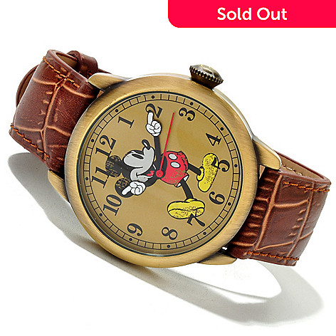 617-152 - Disney Men's Mickey Quartz Vintage-Style Leather Strap Watch