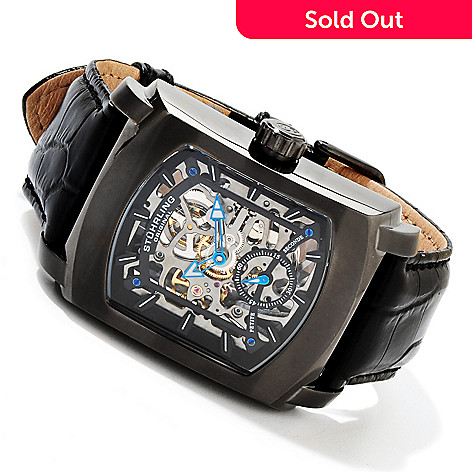 617-261 - Stührling Original Men's Midtown Banker Mechanical Skeleton Leather Strap Watch