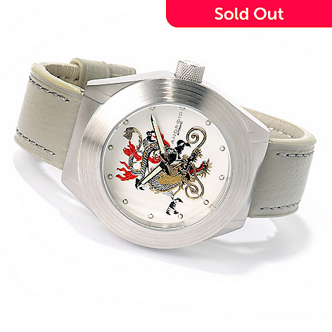 617-272 - Android Men's Tattooed Dragon Automatic Stainless Steel Leather Strap Watch