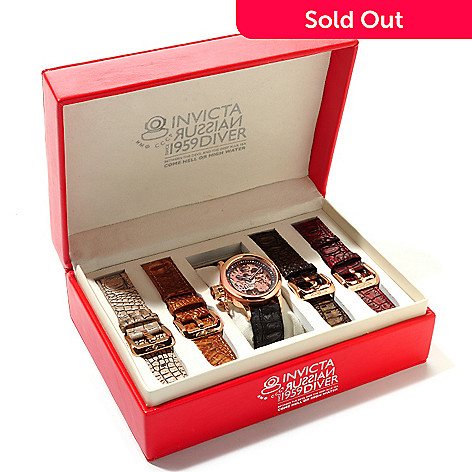 617-287 - Invicta Men's Russian Diver Mechanical Watch w/ Five-Piece Leather Strap Set