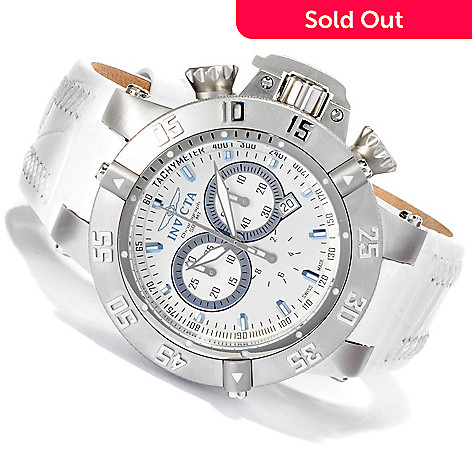 617-297 - Invicta 50mm Subaqua Noma III ''Arctic Edition'' Swiss Chronograph Leather Strap Watch