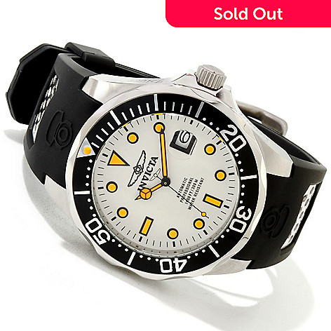 617-330 - Invicta Men's Grand Diver Automatic Lume Dial Polyurethane Strap Watch w/ Three-Slot Dive Case