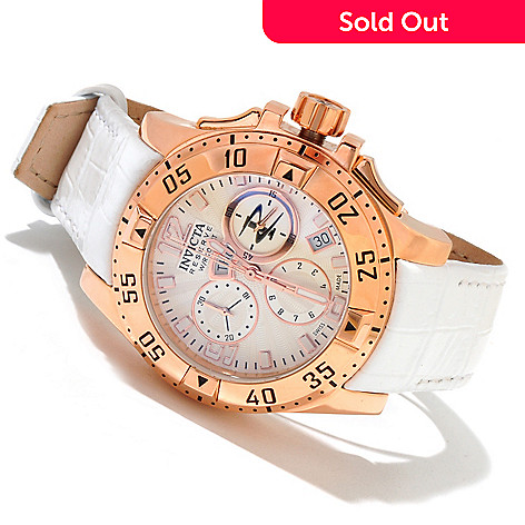 617-383 - Invicta Reserve Women's Excursion Elegant Swiss Made Quartz Chronograph Leather Strap Watch