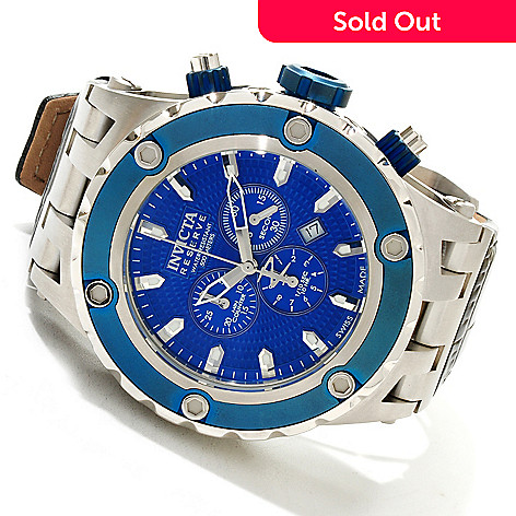 617-384 - Invicta Reserve Men's Swiss Quartz Specialty Subaqua Leather Strap Watch w/ 3-Slot Dive Case