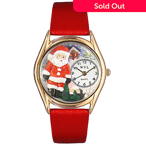 617-539 - Whimsical Watch Kid's Christmas Santa Claus Quartz Leather Strap Watch