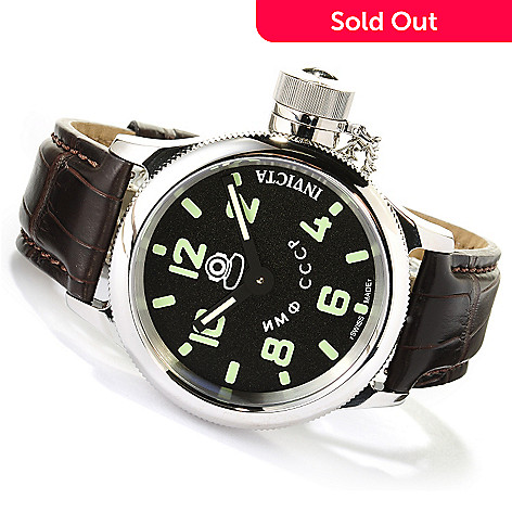 617-567 - Invicta Men's Russian Diver Swiss Mechanical Stainless Steel Alligator Strap Watch