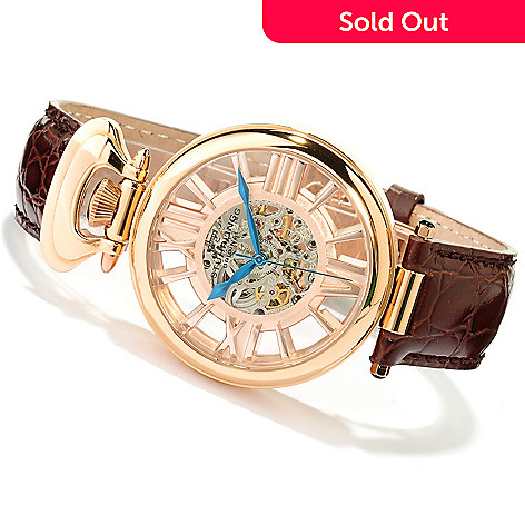617-587 - Stührling Original Men's Roman Emperor Automatic Skeletonized Dial Leather Strap Watch