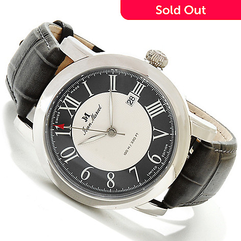 617-694 - Jean Marcel Men's Clarus Limited Edition Swiss Made Automatic Leather Strap Watch