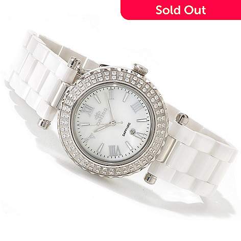 617-706 - Oniss Women's Glamour-2 Collection Quartz Mother-of-Pearl Crystal Accented Bracelet Watch