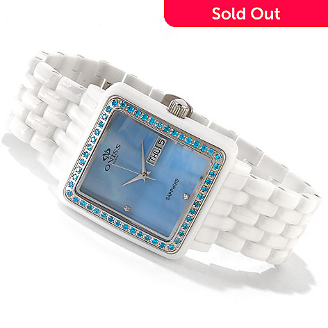 617-707 - Oniss Women's Finesse Ceramic Collection Mother-of-Pearl Crystal Accented Bracelet Watch