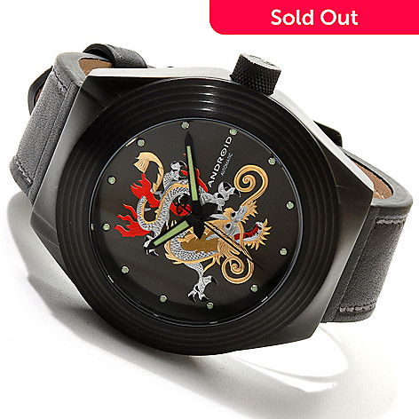 617-733 - Android Men's Tattooed Dragon Automatic Stainless Steel Leather Strap Watch