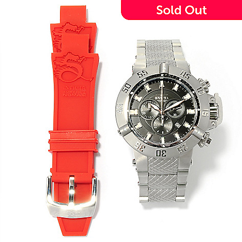 617-771 - Invicta Men's Subaqua Noma III Swiss Chronograph Bracelet Watch w/ Red Strap & 3-Slot Dive Case