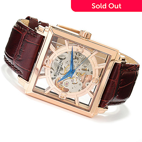 617-793 - Stührling Original Men's Winchester Plaza Automatic Skeletonized Dial Leather Strap Watch