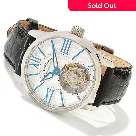 617-796 - Stührling Original Men's Viceroy Limited Edition Mechanical Tourbillon Crocodile Strap Watch