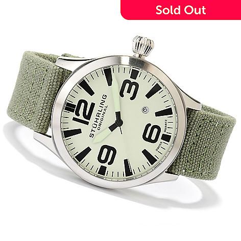 617-799 - Stuhrling Original Men's Tuskegee Skylancer Quartz Stainless Steel Canvas Strap Watch