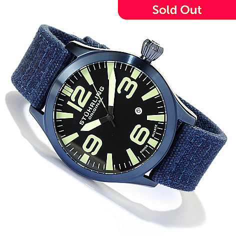 617-800 - Stührling Original Men's Tuskegee Skylancer Quartz Stainless Steel Canvas Strap Watch