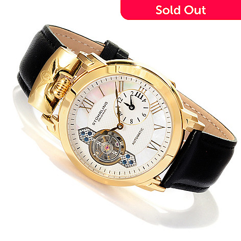 617-805 - Stührling Original Men's Braveheart Automatic Open Heart Leather Strap Watch
