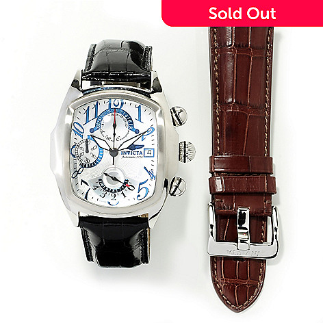 617-807 - Invicta Men's Dragon Lupah Swiss Valjoux 7750 Alligator Strap Watch w/ Winder & Extra Strap
