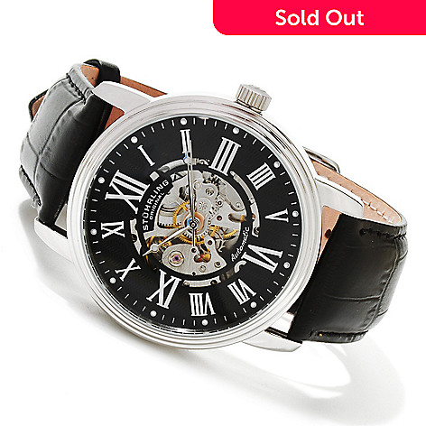 617-808 - Stührling Original Men's Delphi Venezia Automatic Stainless Steel Leather Strap Watch
