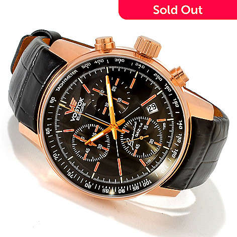 617-810 - Vostok-Europe Men's GAZ Limo Quartz Chronograph Stainless Steel Strap Watch