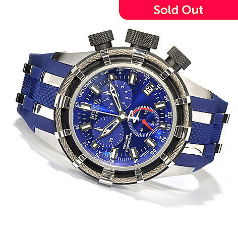 617-839 - Invicta Reserve 50mm Bolt Swiss Made Quartz Chronograph Polyurethane Strap Watch w/ 3-Slot Dive Case