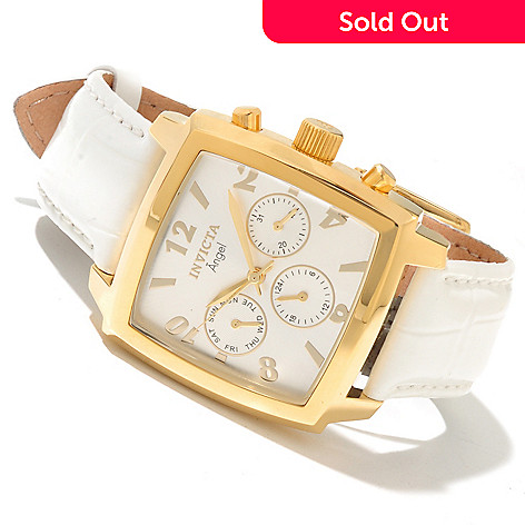 617-848 - Invicta Women's Angel Diver Quartz GMT Sunray Dial Leather Strap Watch