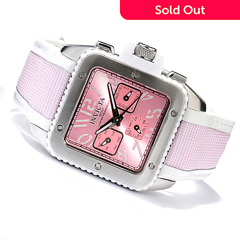 617-851 - Invicta Women's Cuadro Quartz Sunray Dial Stainless Steel Case Leather & Nylon Strap Watch