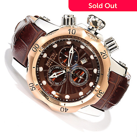617-882 - Invicta Reserve Venom Swiss Made Quartz Chronograph Stainless Steel Leather Strap Watch