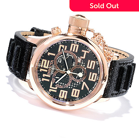 617-887 - Invicta Men's Russian Diver Swiss Made Quartz Chronograph Distressed Leather Strap Watch