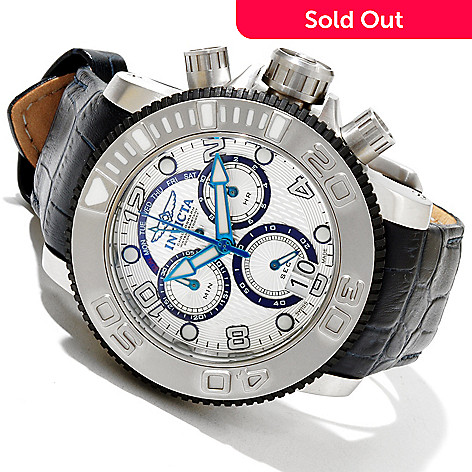 617-888 - Invicta Men's Sea Hunter Swiss Made Quartz Chronograph Leather Strap Watch