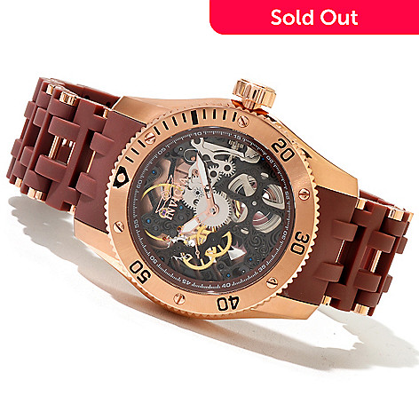 617-896 - Invicta Men's Sea Spider Mechanical Skeletonized Polyurethane & Stainless Steel Bracelet Watch