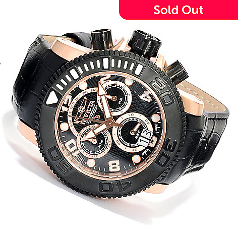 617-946 - Invicta Men's Sea Hunter Swiss Made Quartz Chronograph Leather Strap Watch