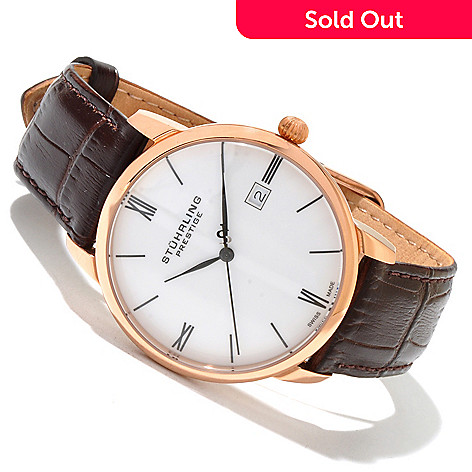 617-969 - Stührling Prestige Men's Swiss Made Quartz Stainless Steel Leather Strap Watch