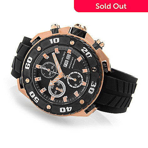 617-971 - Stührling Prestige Men's Maverick Swiss Made Automatic Valjoux 7750 Chronograph Strap Watch