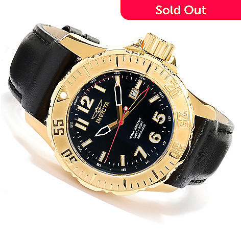 617-975 - Invicta Men's Sport Diver Swiss Quartz GMT Stainless Steel Leather Strap Watch