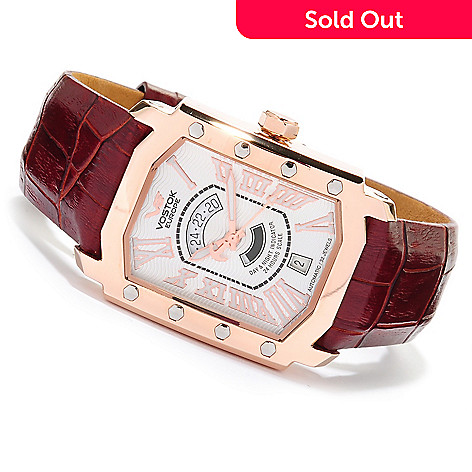 617-983 - Vostok-Europe Rectangular Arktika Limited Edition Automatic Stainless Steel Leather Strap Watch