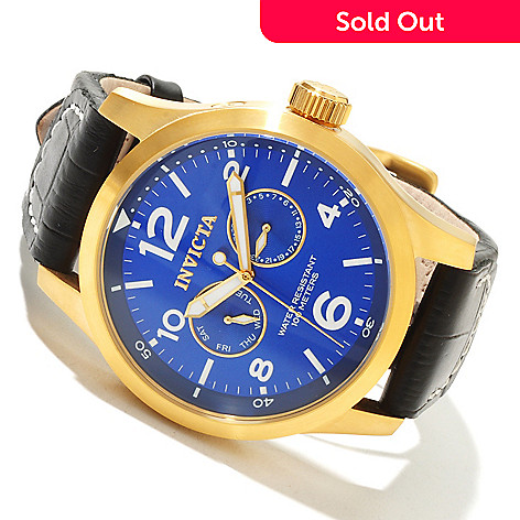 618-000 - Invicta Men's Specialty Military Quartz Sunray Dial Stainless Steel Leather Strap Watch