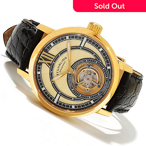 618-015 - Stührling Original Men's Triumph Limited Edition Mechanical Tourbillon Alligator Strap Watch