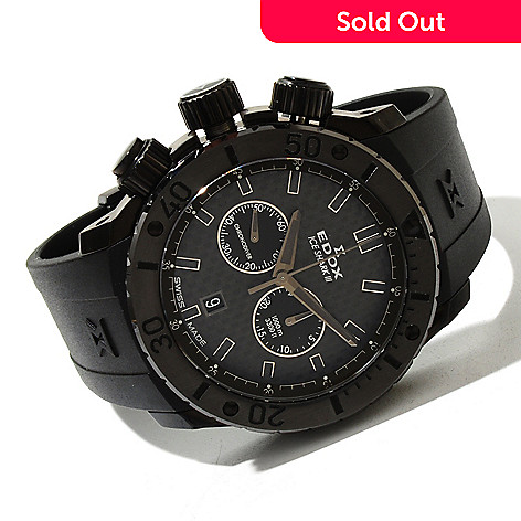 618-082 - Edox Men's Ice Shark III Limited Edition Swiss Made Quartz Rubber Strap Watch